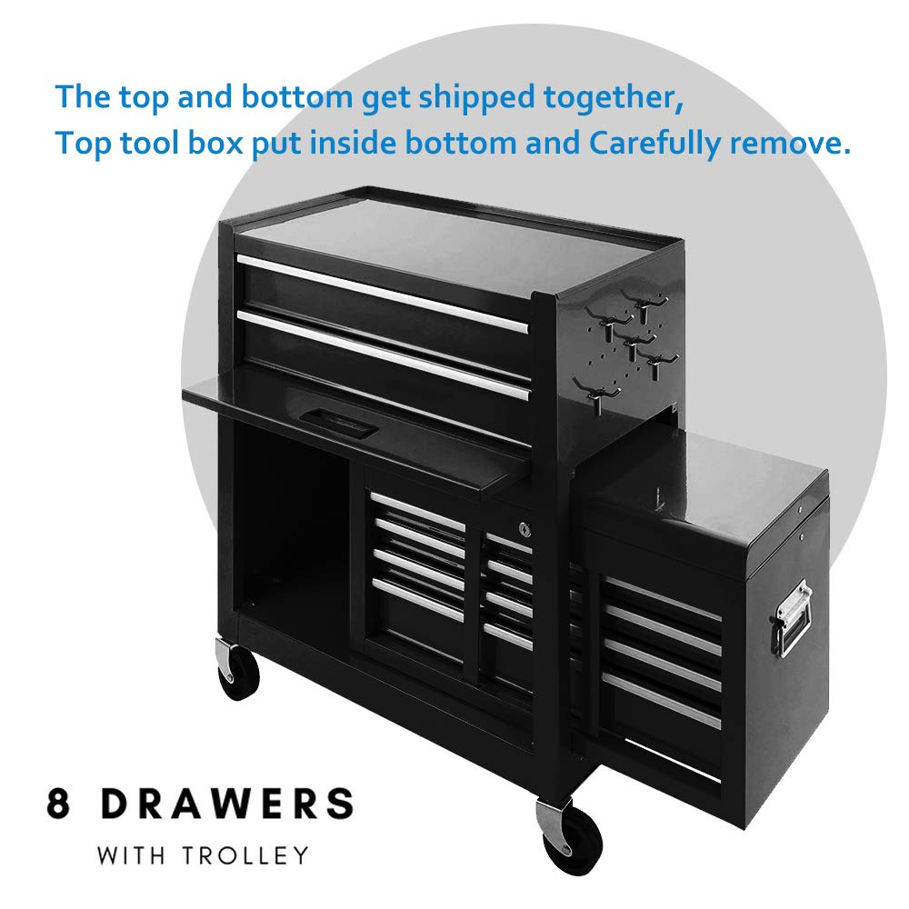 Tool Box 8-Drawer Rolling 2 in 1 Tool Cabinet With Drawer Removable Tool Box,Keyed Locking System Toolbox Organizer Boxes,Black by Long World (Image #6)