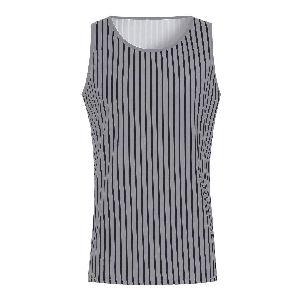 Mens Tank Tops Undershirt Fitness Muscle Striped Print Sleeveless Bodybuilding Tight-Drying Vest Tops by Dainzuy Gray by Dainzuy Men Tops (Image #3)
