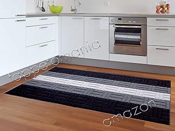 Amazon.de: Teppich Küche modern schwarz, Läufer Küche ...