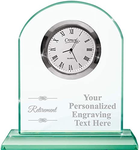 Crown Awards Retirement Emerald Crystal Clock with Engraving Included Prime