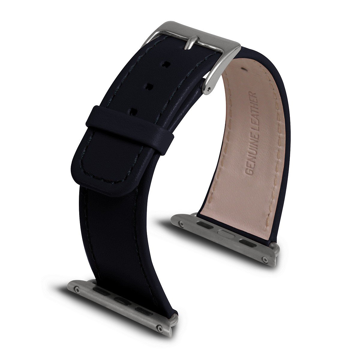 Lucrin - Apple Watch Band 42 mm - Navy Blue - Smooth Leather