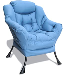 GOLDSUN Accent Chair Lazy Reclining Armchair with Removable Metal Legs and High-Density Foam, Comfy Upholstered Single Sofa Chair for Living Room, Bedroom, Office (Blue)