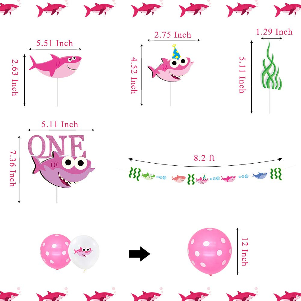 Birthday Banner Highchair Banner for Baby Girls First Birthday 1st Birthday Decorations Kit for Cake Smash Backdrop Includes Shark Cake Topper LOCCA Pink Baby Shark Party Supplies for Girls Kids