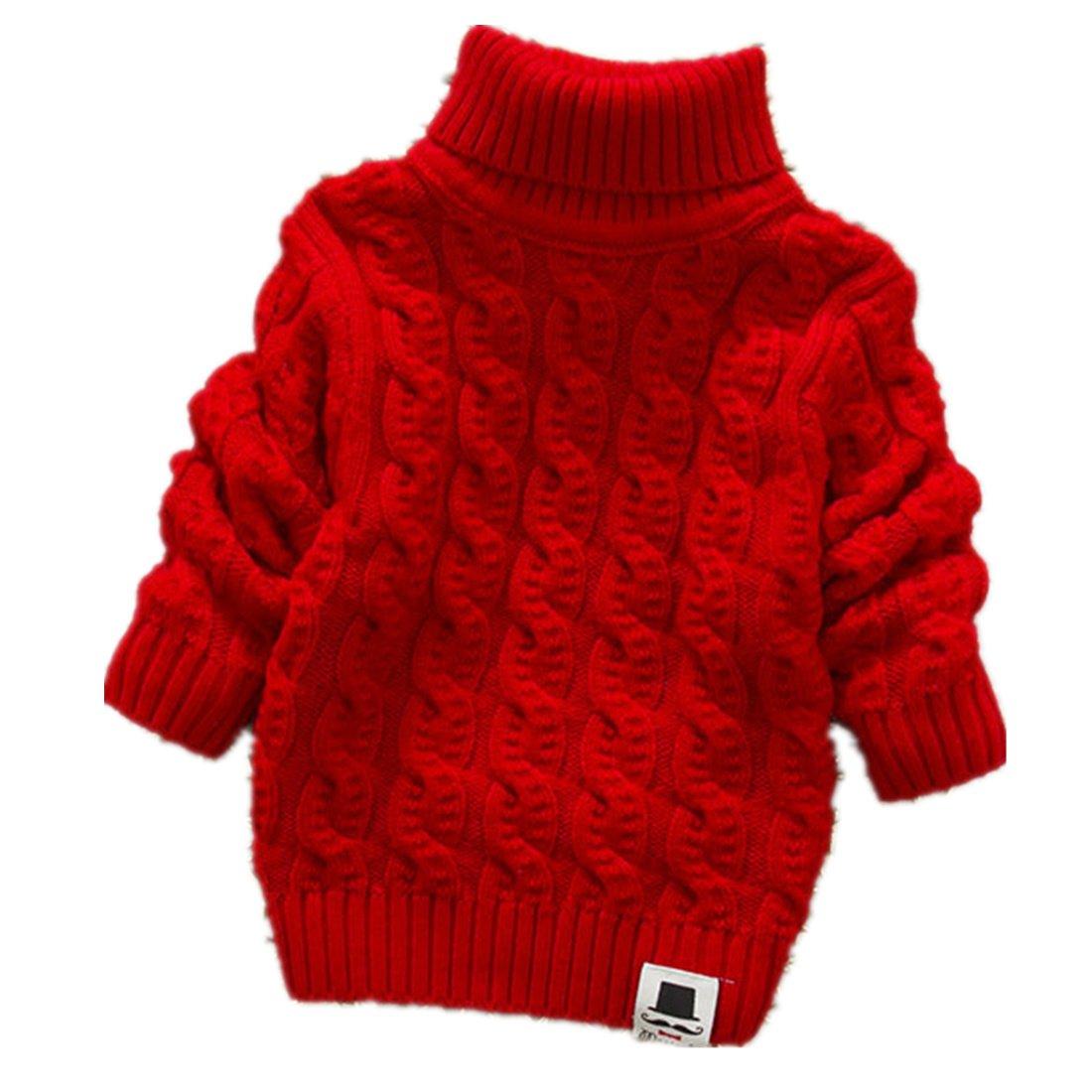 Nine Minow 5-9 Years Kids Turtleneck Sweater Boys Girls Knit Sweater Christmas