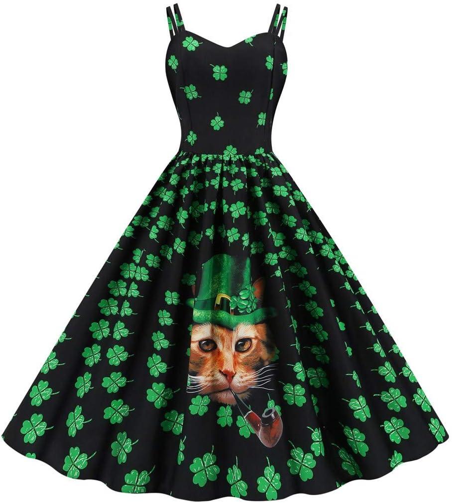 HOTSELL〔◕ღ◕〕St Patricks Day Dress 2020 Womens 1950s Vintage Retro Clover Print Sling Dress Skirt Prom Swing Midi Dresses Cocktail Party Dresses
