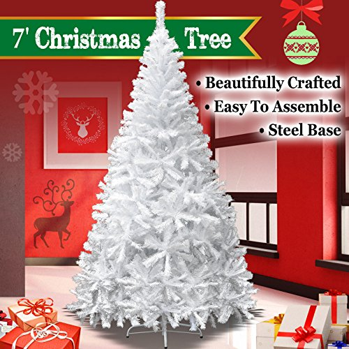 White Christmas Trees - NEW 7' White Classic Pine Christmas Tree Artificial Realistic Natural Branches-Unlit 210CM 1000 Tips With Metal Stand