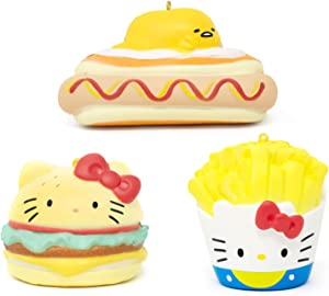 Sanrio Hello Kitty & Gudetama Slow Rising Junk Food Squishy Toy Keychain (Hamburger & Fries & Hot Dog, 3 Piece Set) Birthday Gifts, Party Favors, Stress Ball, Prop Decor for Kids, Boys, Girls, Adults
