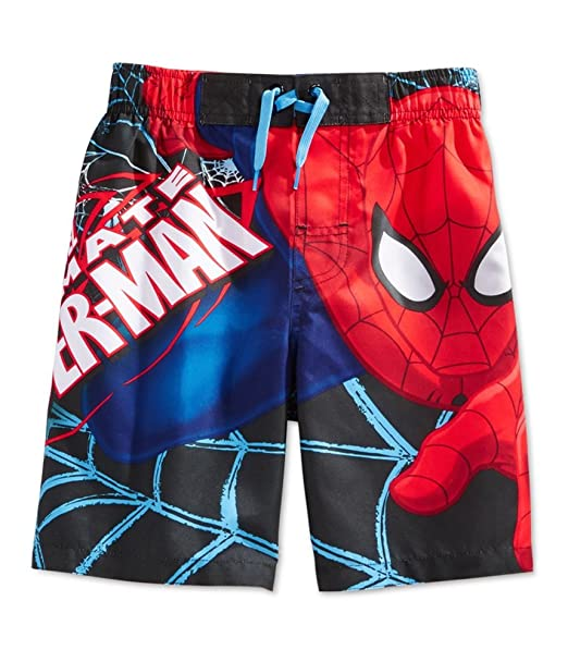 c29774e72c Amazon.com: Marvel Ultimate Spider-Man Little Boys Superhero Swim Trunks  Board Shorts: Clothing