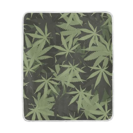Amazoncom Xmcl Marihuana Weed Pattern Warm Throw Blanket Travel