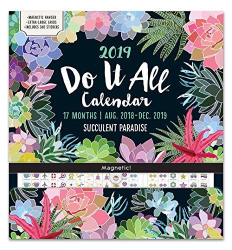 Orange Circle Studio 2019 Do It All Magnetic Wall Calendar, August 2018 - December 2019, Succulent -