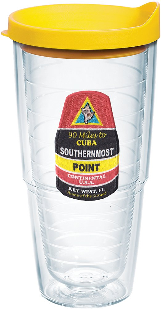 Clear Tervis 1188199 Florida-Southernmost Point Buoy Insulated Tumbler with Emblem and Yellow Lid 24oz