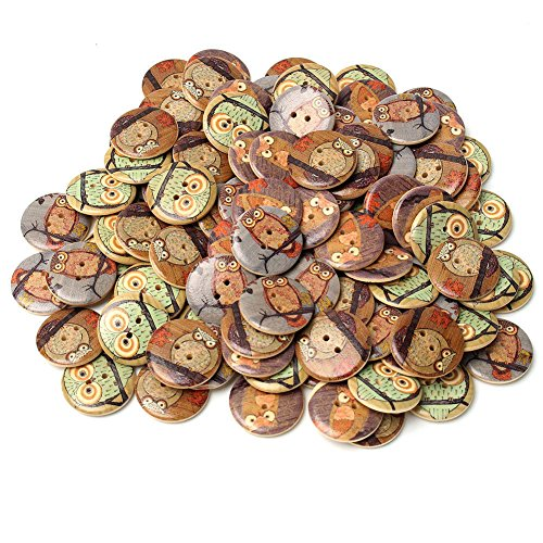 50Psc Kanggest Wooden Buttons Colorful Round Buttons 2 Holes Buttons for Sewing and Crafting DIY Craft(Owl) – The Super Cheap