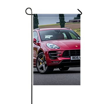 Fenda Garden Flag porsche macan turbo uk spec red front view 12x18 inches(Without Flagpole