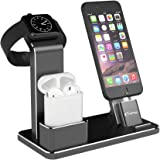 Apple Watch Stand, YoFeW Apple Watch Charger Dock Aluminum 4 in 1 iWatch Charging Stand AirPods Stand Docks for Apple Watch Series 3/ 2/ 1/ AirPods/ iPhone X/ iPhone 8/ 8 Plus/ 7 Plus /6S iPad Black