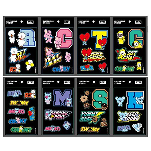 Teblacker BTS Vinyl Stickers, Kpop BTS EXO Twice Blackpink Wanna One Notebook Decal for Mobile Phone, MacBook, Laptop, Car, Boat, Window and Scrapbooking Decoration (8 Pcs)
