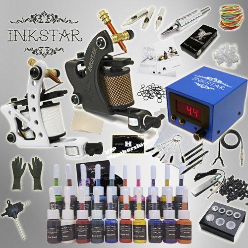 Complete Tattoo Kit Inkstar Journeyman C Machine Gun Power Supply 20 Truecolor Starter Ink Set ()