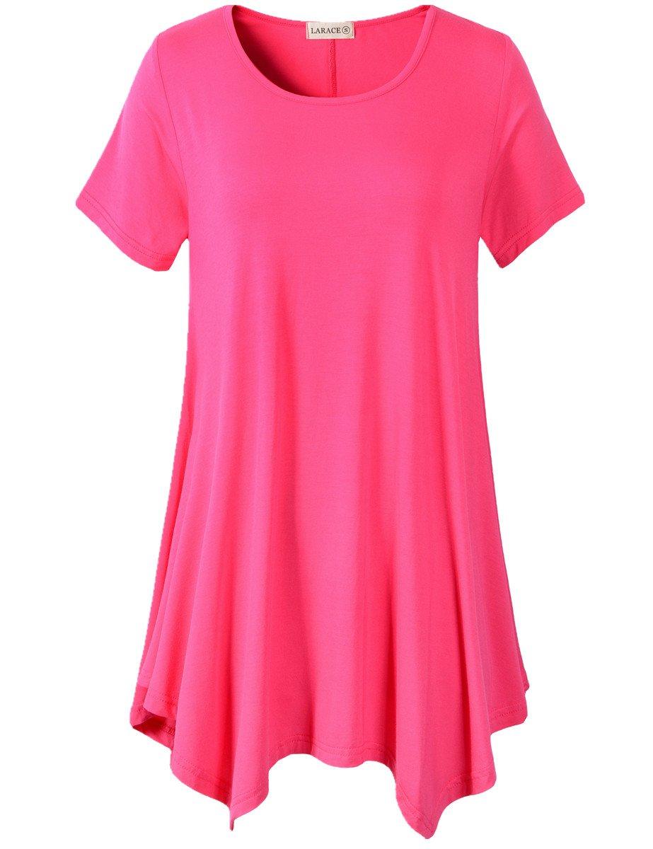 LARACE Womens Swing Tunic Tops Loose Fit Comfy Flattering T Shirt (S, Rosepink)