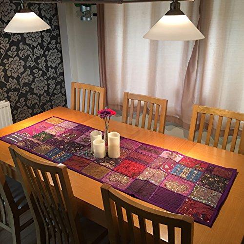 Stylla Londres hecho a mano Vintage Indian sari Patchwork camino de mesa tapiz colgar en la pared
