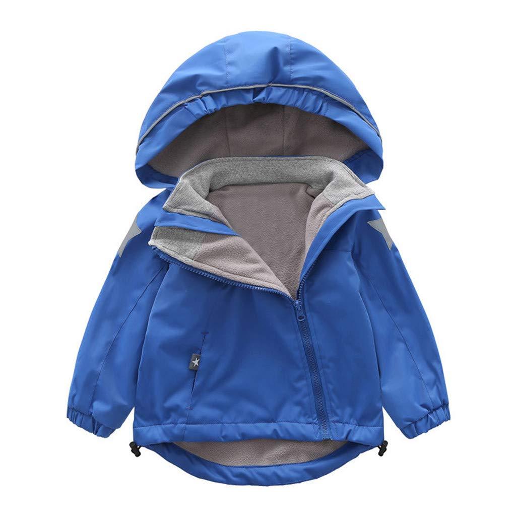 Wenini Toddler Kid Baby Boy Cartoon Animal Hooded Coat Jacket Outwear Windproof Irregular Zipper Warm Plush Outfits by Wenini