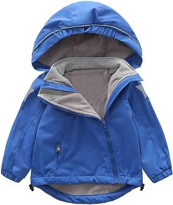 Tronet Baby Winter Warm Coat Toddler Girls Casual Long-Sleeved Solid Color Plus Velvet Hooded Windproof Rainproof Jacket