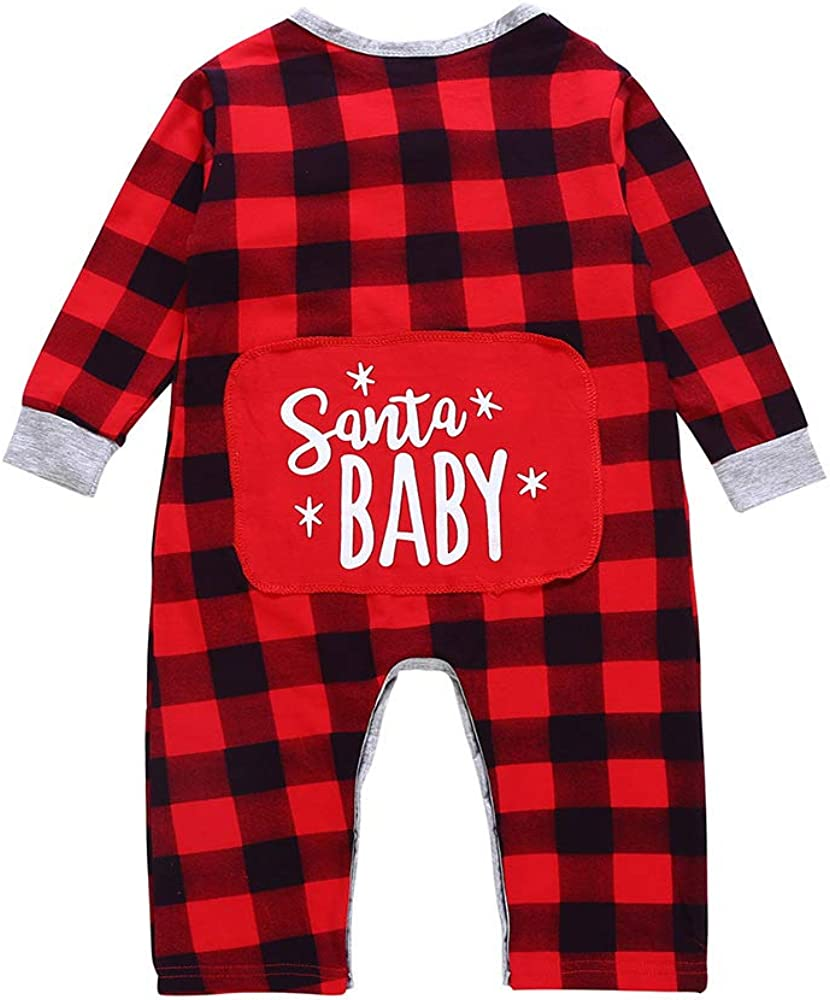 Newborn Baby Boys Girls Christmas Santa Xmas Plaid Letter Romper Jumpsuit Pajamas Toddler Infant Outfits