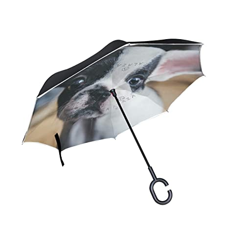 imobaby Cute Puppy Straight Self-standing Reserve Rain Car Umbrella Large Double Layer Inverted Folding
