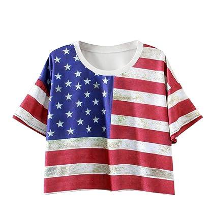 b69923603 Amazon.com: Franterd Women's Crop Tops 4th of July Shirts American Flag  Print Patriotic Short Tank Top Loose Blouse: Sports & Outdoors