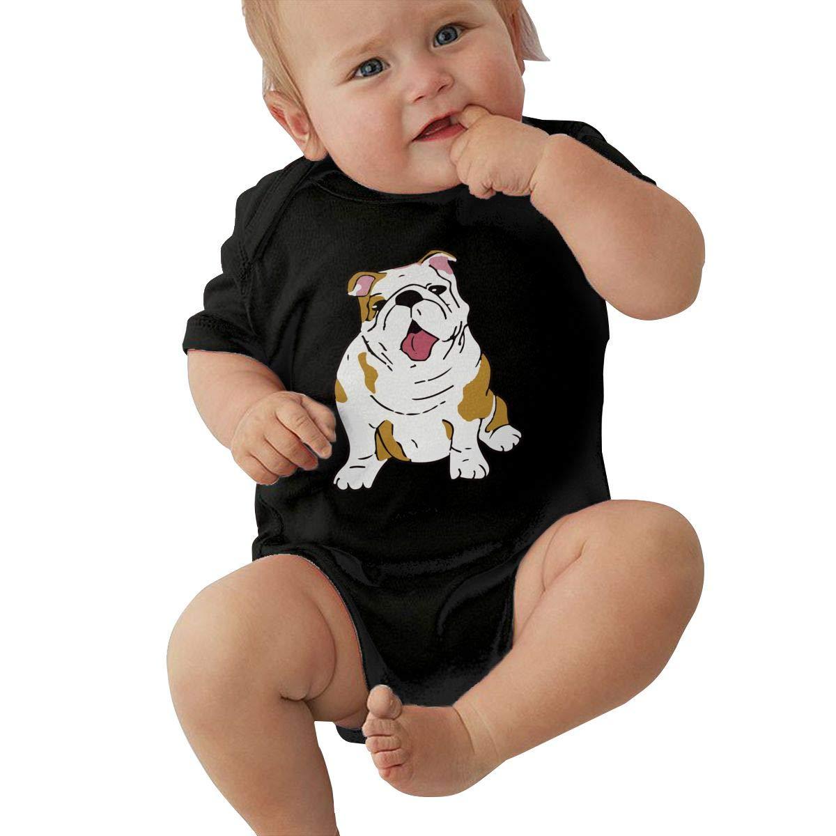 Fashion English Bulldog Sleepwear U88oi-8 Short Sleeve Cotton Rompers for Baby Boys and Girls
