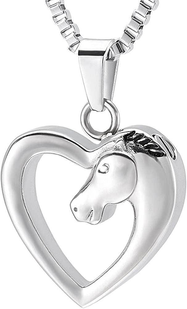 XSMZB Horse Heart Cremation Jewelry for Ashes Pendant Urn Necklace Memorial Ash Keepsake Cremation Jewellery for Women Men