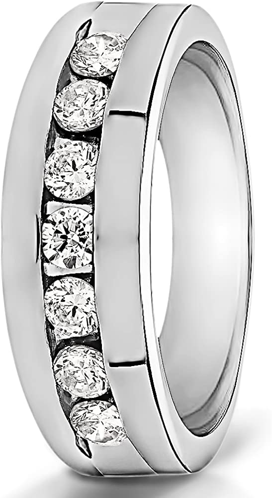 0.66Ct Size 3 to 15 in 1//4 Size Intervals Sterling Silver Mens Wedding Band Charles Colvard Moissanite
