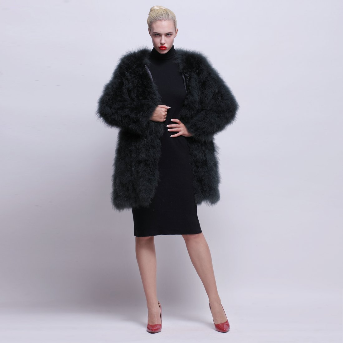 URSFUR Women Winter Jacket Real Ostrich Feather Fur Coat Opal Green XL by URSFUR (Image #5)
