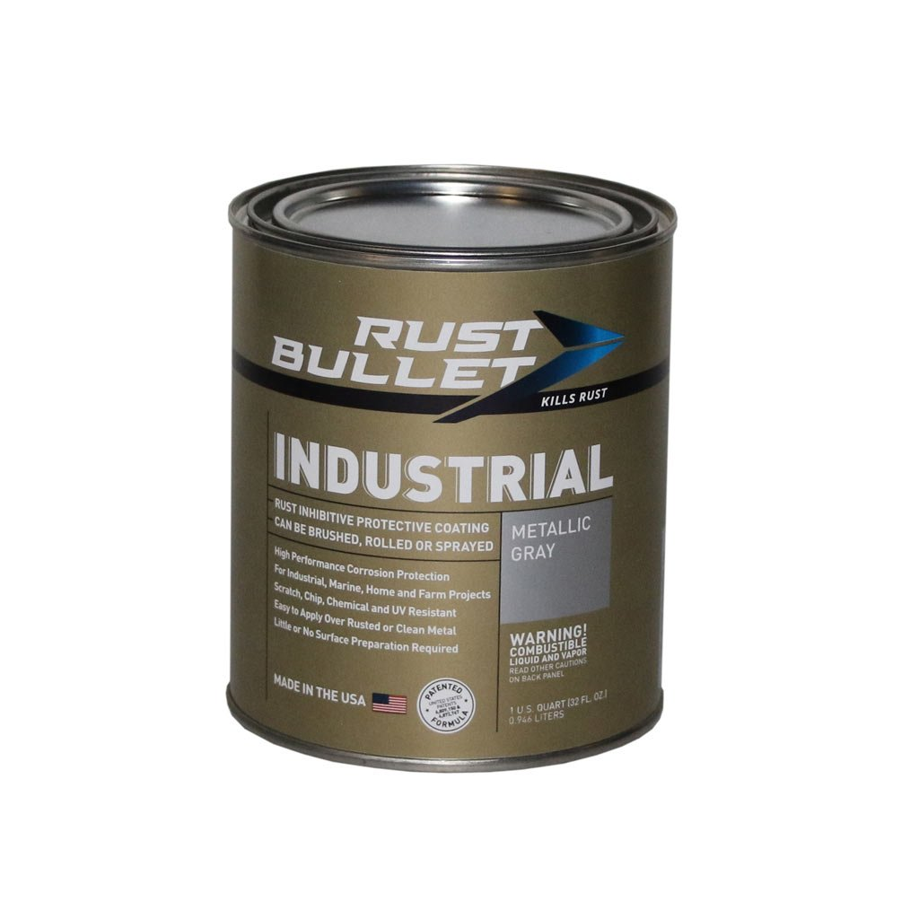 Rust Bullet RB53 Standard Industrial Strength Rust Inhibitor Paint, 1 Quart Metal Can, Metallic Gray