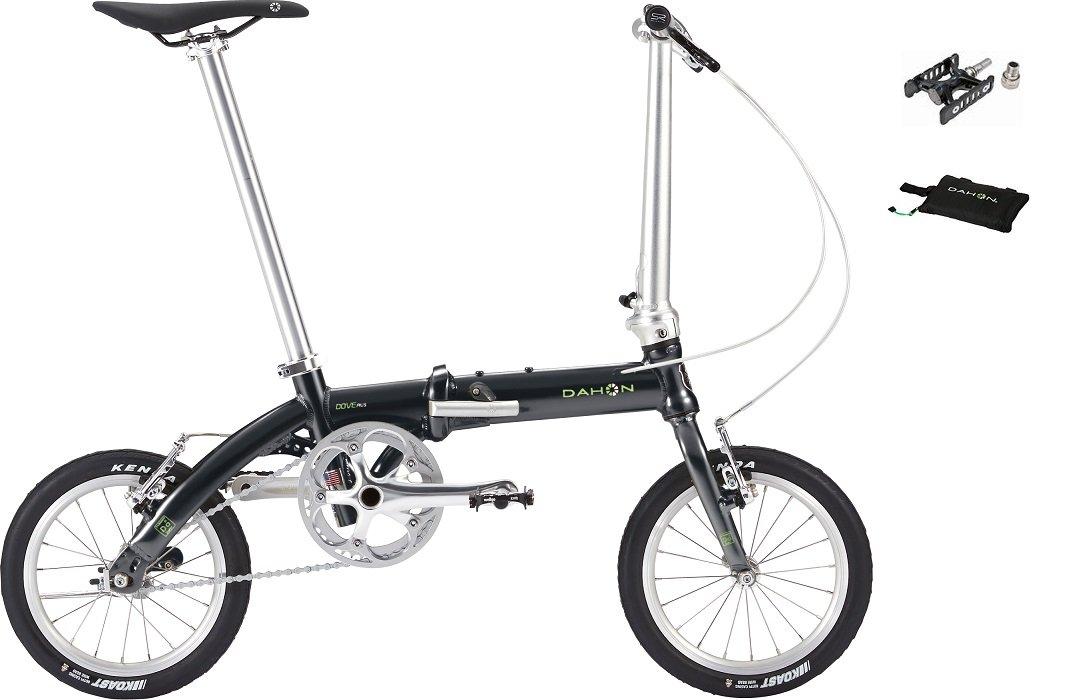 2018年モデル DAHON(ダホン) DOVE PLUS(ダヴ プラス) 14インチ 折り畳み自転車 オブシディアンブラック +スリップバッグミニ、プロムナードEZY BK(着脱ペダル) B076J5G2J2
