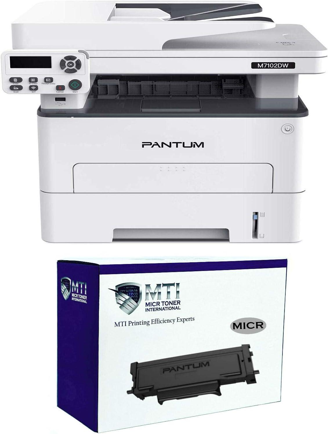 2 Items MICR Toner International M7102DW MICR Check Printer Bundle with 1 Pantum TL-410A MICR Starter Toner Cartridge