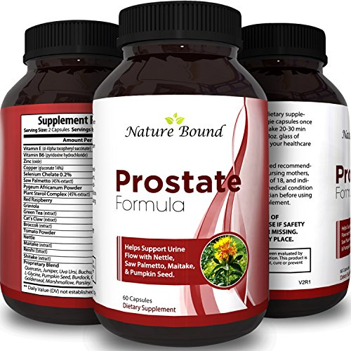 Best Prostate Support and Care Natural Health Supplement for Men 100% Pure Extract Pills Contains Saw Palmetto Berries Pygeum Africanum Red Raspberry Vitamins Urinal Flow + Hair Growth by Nature Bound
