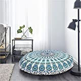 Mandala Pouf Cover Hippie Floor Cushion Cover Pink Mandala Throw Cushion Round Bedroom 32 Inches Round Pouf Cover Indian Boho Seat Cover Bedding Bohemian Home Décor Hippy Decoration I … (Sea Blue)