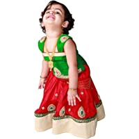 White Button Baby Girl's Red Green Pure Glace Cotton Readymade Lehenga Choli Dress