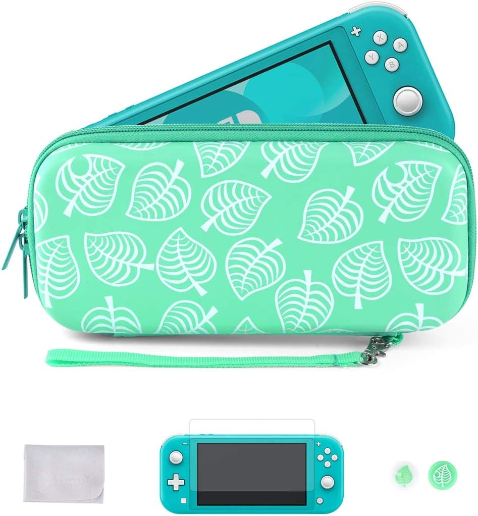 Tscope Carrying Case for Nintendo Switch Lite, [New Horizons Edition] New Leaf Crossing Design, Hard Full Protective Portable Travel Carry Bag with Tempered Glass Screen Protector, Thumb Grips