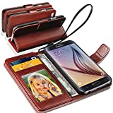 N+ India Samsung Galaxy C5 Rich Leather Stand Wallet Flip Book Pouch Soft Phone Bag Antique Leather Case Brown