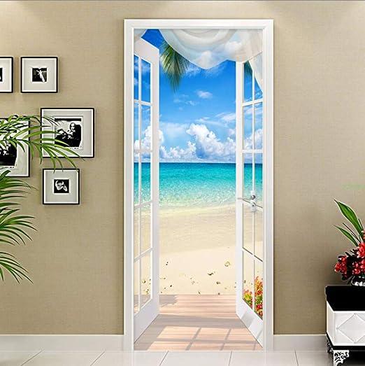 WHXJ Estéreo 3D Ventana Playa Mar Paisaje Paisaje Mural PVC Autoadhesivo Etiqueta De La Puerta Sala De Estar Dormitorio Decoración del Hogar 3 D: Amazon.es: Hogar