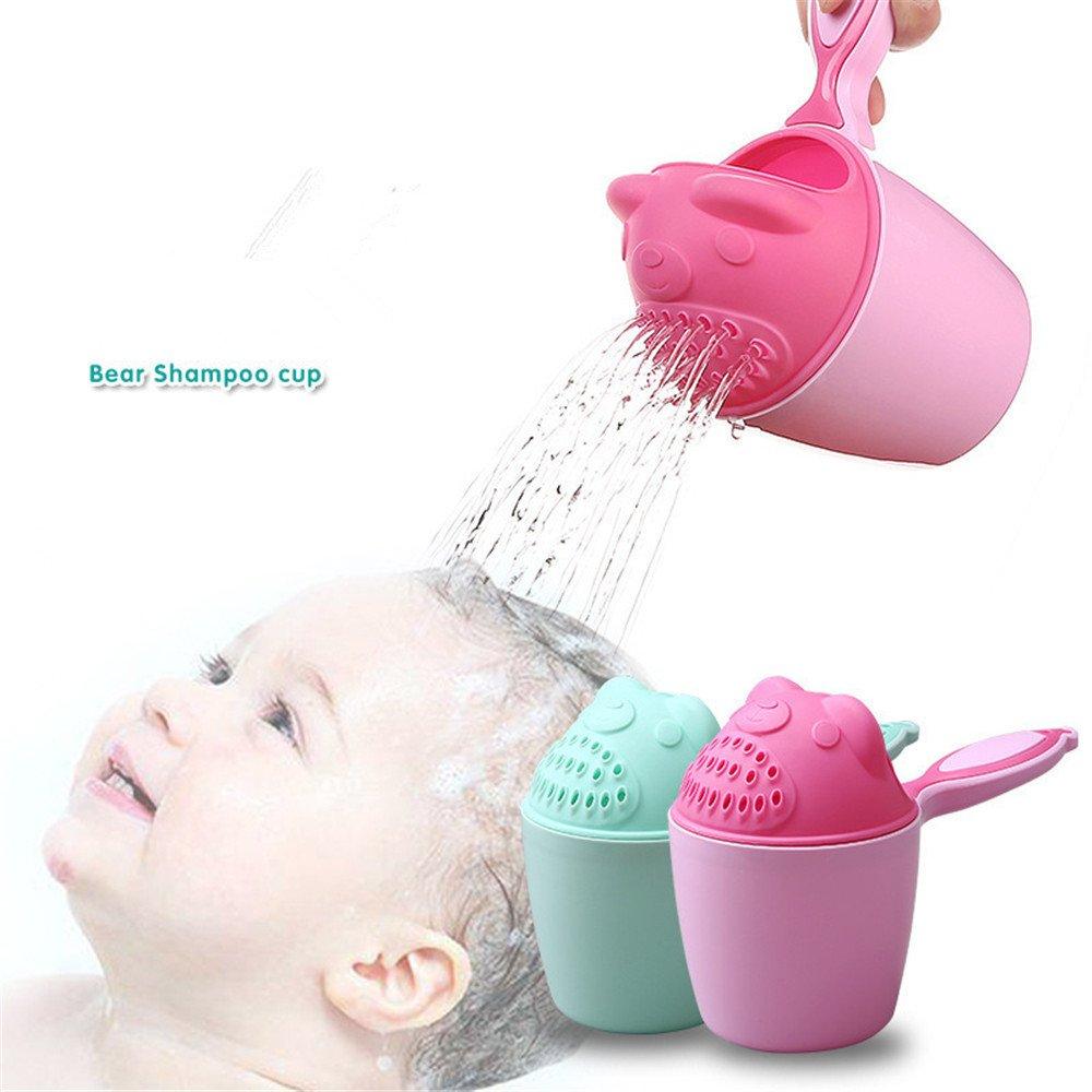 Hkfv Superb unico creativo design Baby Wash Head Hair comodo sicuro utilizzando cucchiaio di bambino doccia bagno nuoto in acque Bailer shampoo Cup Pink