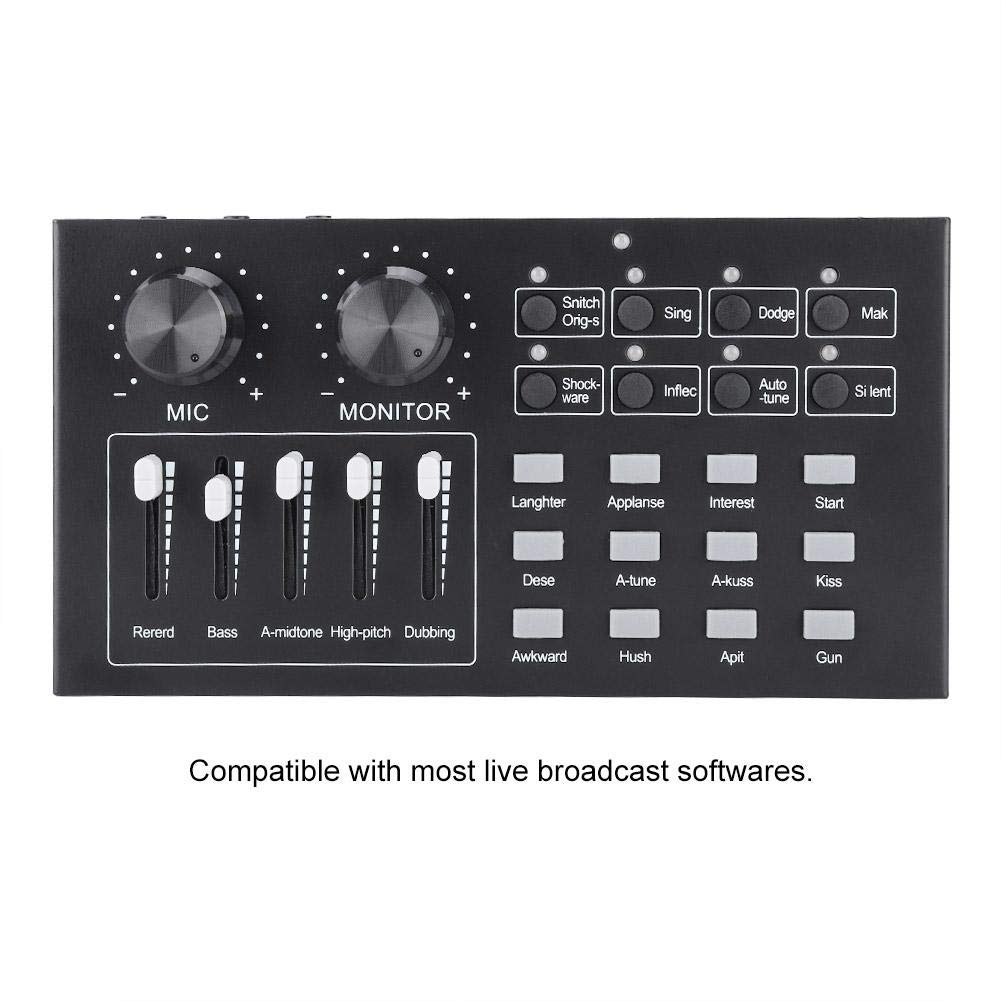 External Audio Sound Card with Multiple Functions,Professional Singing Microphone Live Broadcast for Mobile Phone Computer PC ASHATA Live Sound Card