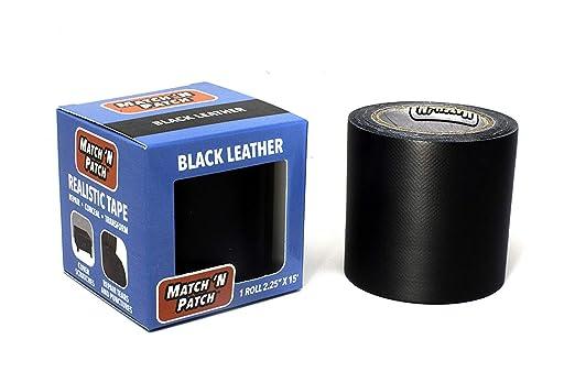 Cinta de reparación Match N Patch con imitación de cuero realista, color negro