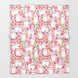 Society6 Shih Tzu florals love gift for dog person pet friendly portrait dog breeds unique small puppy Throw Blankets 88'' x 104'' Blanket