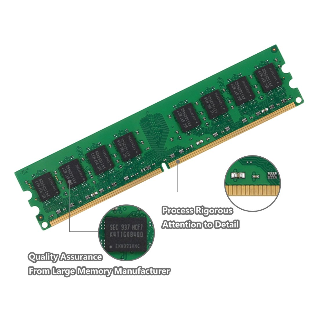 DUOMEIQI 4GB Kit (2 X 2GB) 2RX8 DDR2 800MHz UDIMM PC2-6300 PC2-6400 PC2-6400U CL6 1.8v (240 PIN) Non-ECC Unbuffered Desktop Memory RAM Module Compatible with Intel AMD System by D DUOMEIQI (Image #4)