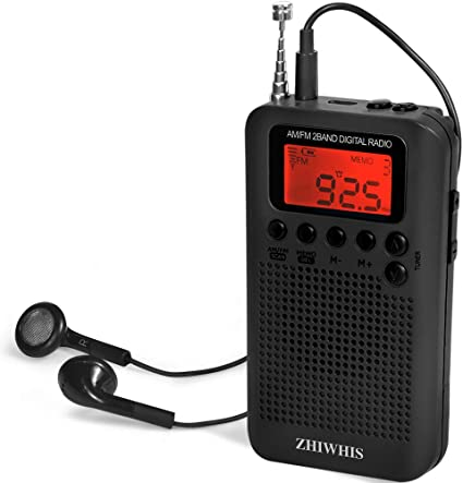 Mini Portable Pocket AM//FM Battery Powered Silver AM//FM Radio w 3.5mm Audio Jack