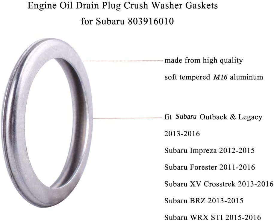 12 Pack M16 Engine Oil Drain Plug Sealing Washers//Crush Gaskets 803916010 Fit Replacement for Subaru Outback Crosstrek Forester WRX BRZ Impreza Engine Oil Seals Rings Silver