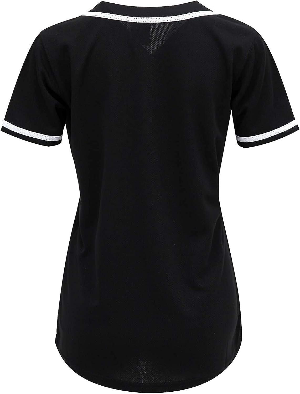 Blank Softball Team Uniform oldtimetown Womens Button Down Baseball Jersey Hip Hop Hipster Short Sleeve Active Shirts