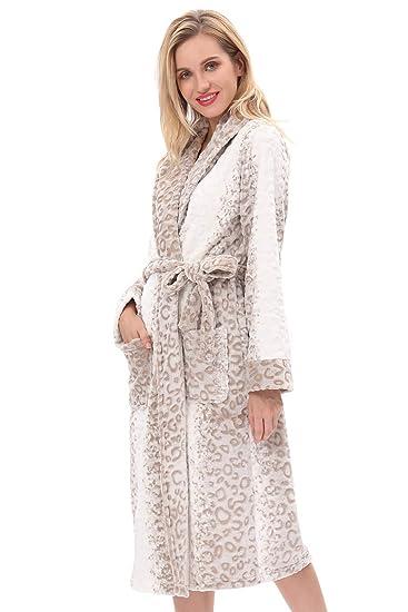 bc4518881d Womens robe plush warm soft fleece print robe kimono spa bathrobes sleepwear  night wear shawl collar
