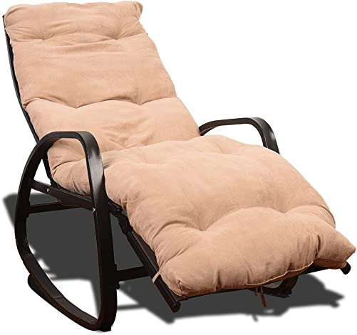 Sundale Adjustable Rocking Chair Zero Gravity Lounge Chair Waterproof Breathable Recliners for Patio, Pool, Backyard, Deck, Garden, Home Brown